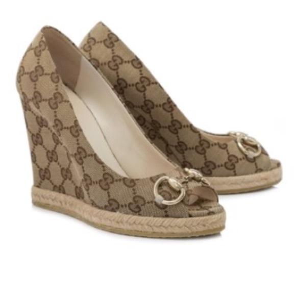 8d549e2d6cab60 Gucci Original GG Logo Wedges Peep Toe Shoes 7.5